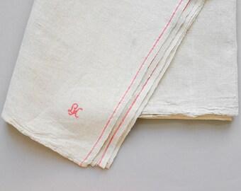 Monogramme vintage linen, linen sheets, linen fabric, vintage linen fabric, vintage fabric