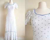 Vintage White Floral Maxi Dress, Boho Empire Waist, Flowy White Gown, Puff Sleeve Dress, 60s 70s Peasant Dress, Hippie Dress, See Through