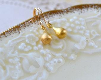 Gold Teardrop Earrings, Tiny Drop Earrings, Brushed Gold Jewellery, Gold Minimalist Earrings, Delicate Gold Earrings, Wife Gift, For Mum