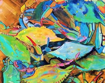 Crab Basket Yellow-Art by Jen Callahan Tile,Cuttingboard,Paper Print