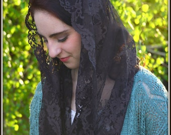 Brown Infinity Veil ~  FLV2 - Catholic Mantilla, in Dark Chocolate Imported French Lace