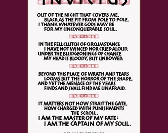 Invictus poem, 11x14 invictus print, I am the master of my fate, inspirational print, wall art