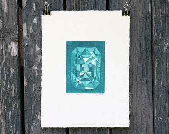 Gemstone art print - gem art - jewelry - gem - turquoise - gemstone - aquatint - contemporary art - fine art - Emerald / Be3Al2(SiO3)6