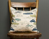Vintage Cars Pillow - 14x14 Inch - Vehicles, Neutral Pillow Cover, Blue, Green, Old Cars, Vehicles, Fun Modern Pillow Cover, Kids Room