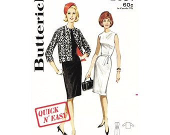 "1963 Vintage Sheath Dress, Dart-fitted, Jewel Neckline, Kick Pleat, Open Cardigan Style Jacket, 3/4 Length Sleeves, Butterick 2631, Bust 34"""