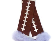 Football Leg Warmers with White Ruffle, Ruffled Leg Warmers Infant, Baby, Toddler, Preteen, Arm Warmers