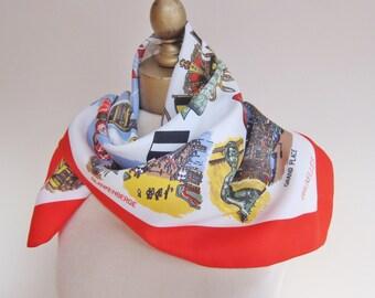 BELGIUM vintage scarf, souvenir scarf, Belgique, Belgie, bright travel scarf, square scarves,  European scarves, vintage scarves