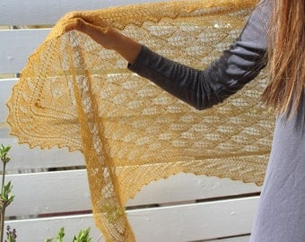 Victorian lace shawl, beautifully hand knitted in a gorgeous deep gold kid-mohair & silk blend