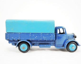 Vintage Dinky Toy, Austin Covered Wagon Model No. 30S Diecast, Blue Body Light Blue Canopy, VG Condition, Blue Hubs, Removable Canopy