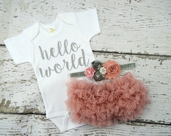 Dusty Rose Baby Girl Take Home Outfit Newborn Baby Girl Hello World Bodysuit Vintage Pink Bloomers & Grey Headband Set / Baby Shower Gift