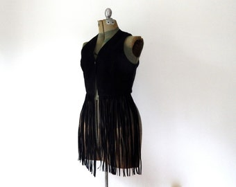 black suede leather fringe vest womens vest vintage 90s country western hippie fringe vest cowgirl top vest long suede fringe vest size L