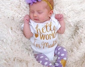 Newborn Girl Personalized Outfit Hello World Lavender Gold Glitter Heart Headband Leg Warmers Baby Girl Coming Home Outfit Gift Take Home