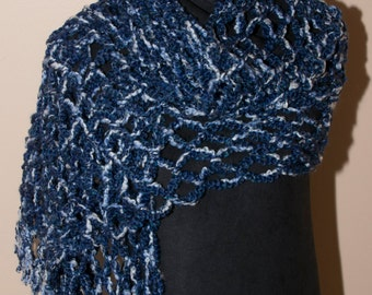 Blue and White Open Weave Shawl With Fringe