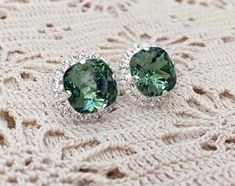 Emerald Earrings Emerald Green Light Emerald Green Wedding Green Bridesmaids Swarovski Crystal Green Emerald Bridal Silver Stud Earrings