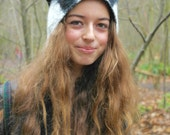 Badger Animal Hat with black and white stripes warm all weather pure wool headgear