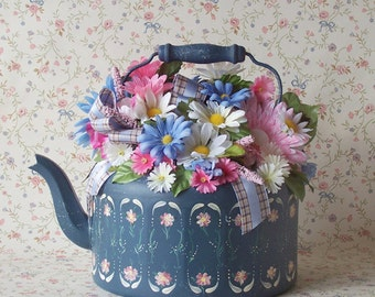 Colorful Large Metal Teapot Floral Arrangement One of a Kind