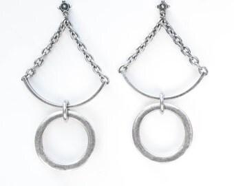 Balance Earrings Oxidized Silver
