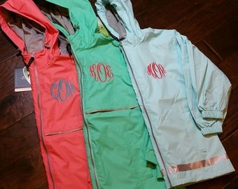 Monogrammed Charles River Rain Jacket Waterproof More Colors XS-3X Gray Mesh Lined by Charles River ~ New Englander ~ Hooded ~ Sping