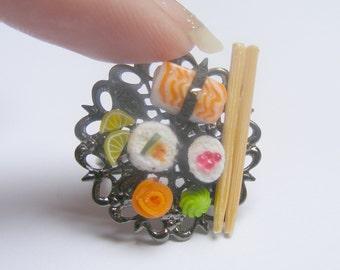 Food Jewelry, Sushi Ring, Miniature Food Jewelry, Miniature Sushi Ring, ,Mini Food Jewelry, Sushi Lover, Sushi Jewelry, Japanese Food Ring