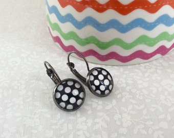 French Clip Earrings, Black with White Polka Dots, 12mm diameter glass dome art, Eco friendly gift wrap, BDBFCE