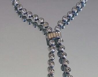 Vintage Art Deco silver tone paste pendant necklace / 1920s costume jewelry / evening wear / wedding