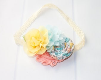 Peach Mint Lemonade  - headband in mint, aqua, yellow, peach and grey (RTS)