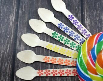 You Pick Colors 25 Hand Stamped Ice Cream Spoons, Taster Spoons, Wooden Utensils, Cutlery, Silverware, flowers,  Rainbow