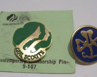 Contemporary Girl Scout Membership Pin and World Association Pin Circa 1980's