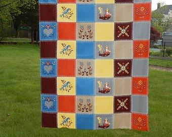 Vintage Wilendur Tablecloth Folk Penn Dutch.  Blue Orange yellow brown. Hearts birds, floral
