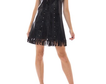 1970s Black Leather  Calf Hair Studded Zip Up Dress With Fringed Hemline