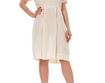 1940s Cotton White Pink Neck Embroidered Midi Dress SIZE: S/M, 6