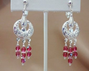 Free Shipping - Silver And Fuchsia Chandelier Clip-On Earrings