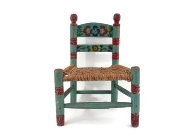 Folk Art Chair Original Red and Green Paint with Woven Raffia Seat