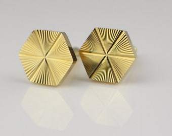 1980s Hexagon Geometric Sunburst Engine Cut Cuff Links Gold Tone Metal Cufflinks