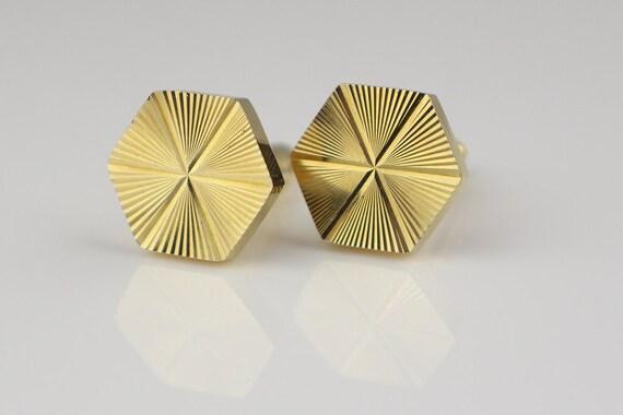 Ann es 1980 hexagone g om trique sunburst moteur coup boutons - Mettre bouton de manchette ...