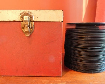 Vintage 45 Record Collection and Metal Record Case