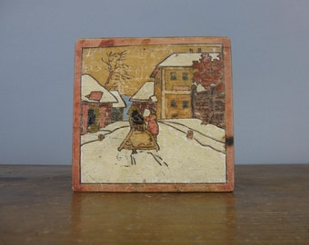 Vintage Wooden Box, Mid Century / Snow Scene / Trinket Box / Keepsake Box / *465