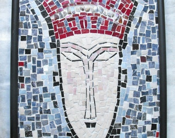 Glass Mosaic Art ~ Handmade Smalti Glass Mosaic Wall Hanging - Red Face - Handmade Mosaic Art by EllebelleArt