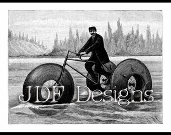 Instant Digital Download, Vintage Victorian Antique Graphic, Aqua Cycle, Nautical Novelty, Invention, Ocean, Steampunk, Tricycle