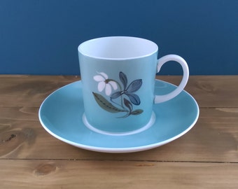 Susie Cooper Coffee Can and Saucer / Flower Pattern in Blue
