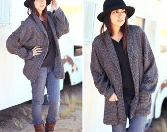 CHARCOAL GREY BLAZER oversized slouchy boyfriend blazer jacket grandpa cardigan women size large