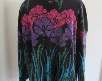 Vintage Oversized Metallic Sparkle Floral Knit Sweater Dress