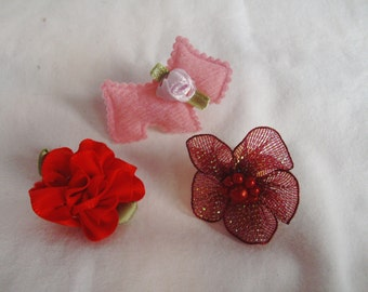 Pet Flower & Accent Top Knot Set - Pink Red and Burgundy Pet Set - Dog or Cat Collar Decoration - Leash Flower - Groomer Bows and Flowers