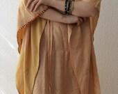 RESERVED for Renate Vintage Bohemian  Summer Caftan Pure Silk Kaftan Ethnic Tunic
