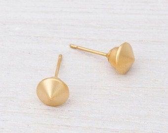 Round Earrings, Round Gold Stud Earrings, 24K Gold Plated Earrings, Small Spike Earrings, Minimalist Stud Earrings, Dainty Post Earrings