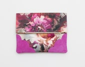 BLOSSOM 14 / Floral fabric & Natural leather folded clutch bag with leather tassel - Ready to Ship