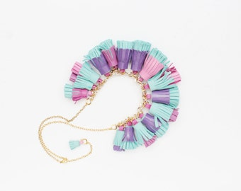 BOUQUET 26 / Mixed color natural leather tassel statement everyday necklace in bright colors - Ready to Ship
