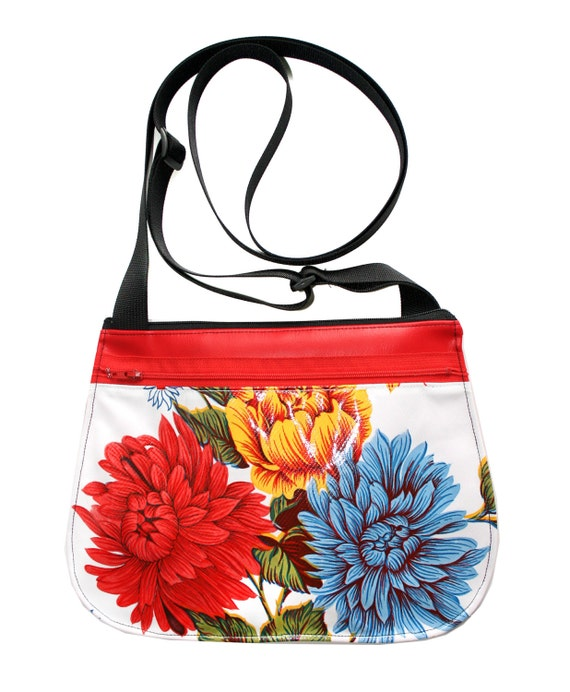 yellow, floral, oil cloth, red vinyl, cross body, vegan leather, zipper top