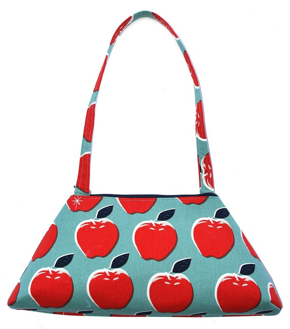 SALE!! Apples, Japanese fabric,  echino, silkscreen, vintage inspired, retro style, tote