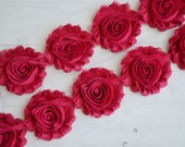 FUCHSIA Shabby Chiffon Flower Trim - Your choice of 1 yard or 1/2 yard -  Chiffon Shabby Rose Trim, DIY headband supplies,